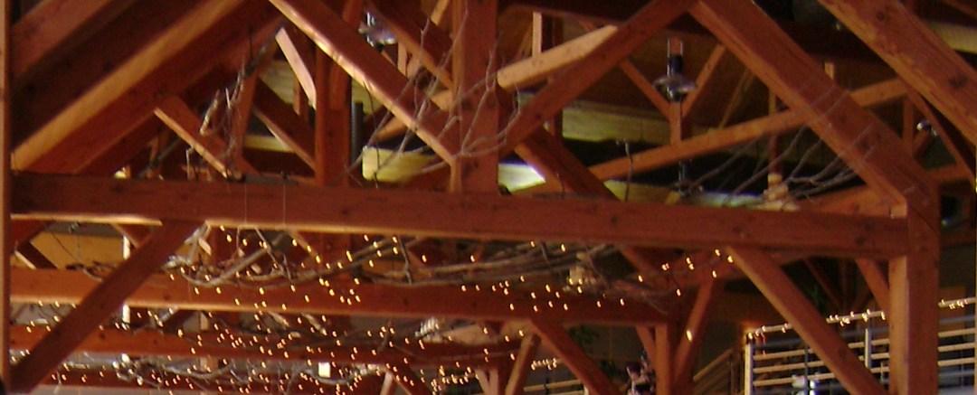 Skan-Lodge-Wedding_Beams-Lights-Ceiling