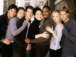 ABC6 (8/31/99)WASTELAND, a new one-hour series about twentysomethings living in New York City, will air on WEDNESDAYS (9-10 pm, ET), beginning OCT. 7, on the ABC Television Network. Pictured L-R: EDDIE MILLS, REBECCA GAYHEART, DAN MONTGOMERY, SASHA ALEXANDER, JEFFERY D. SAMS, MARISSA COUGHLAN, BRAD ROWE . .
