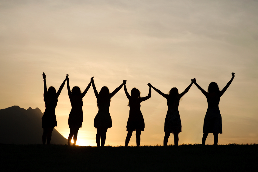 women's group in silhouette