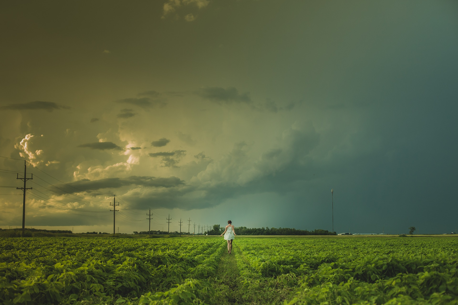 woman alone in field storm clouds