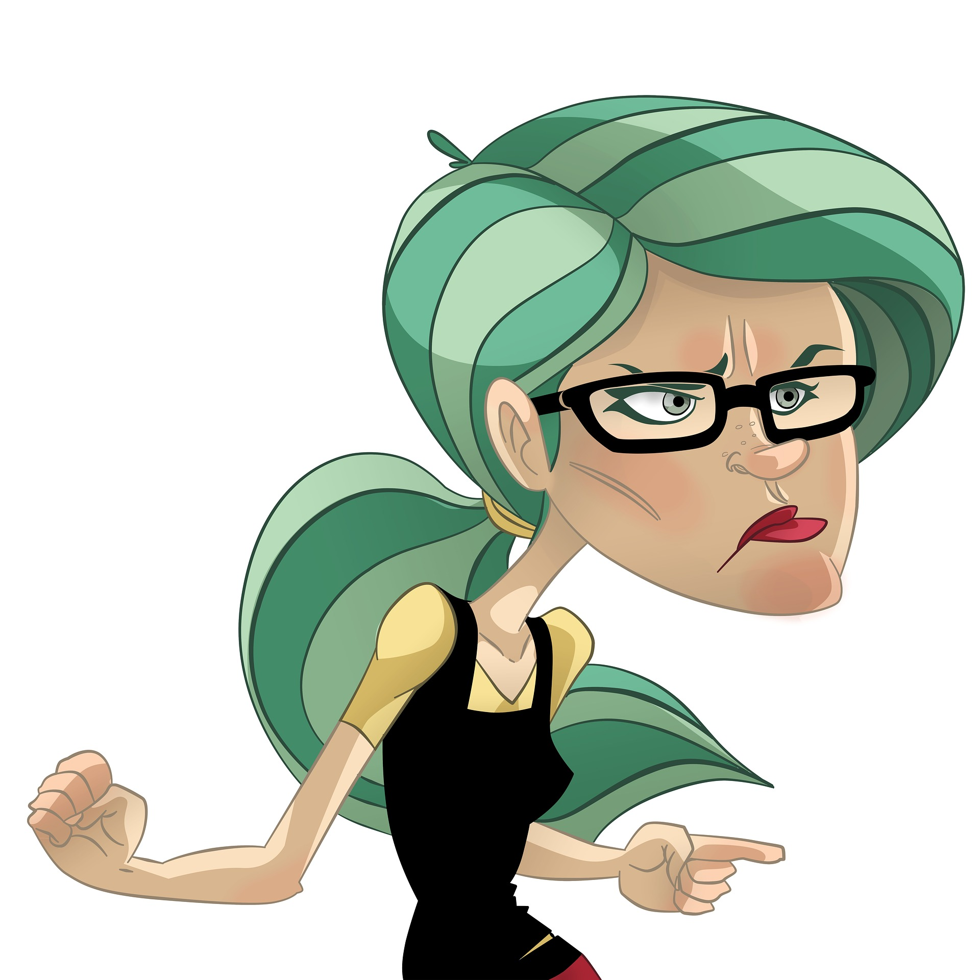 mad cartoon woman green hair