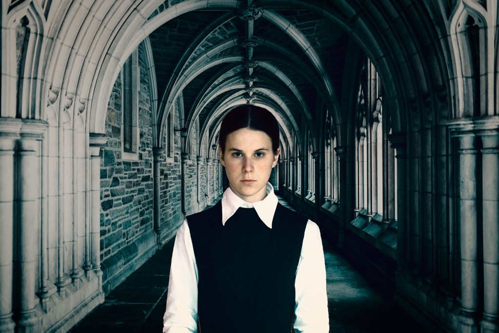 serious girl in cathedral