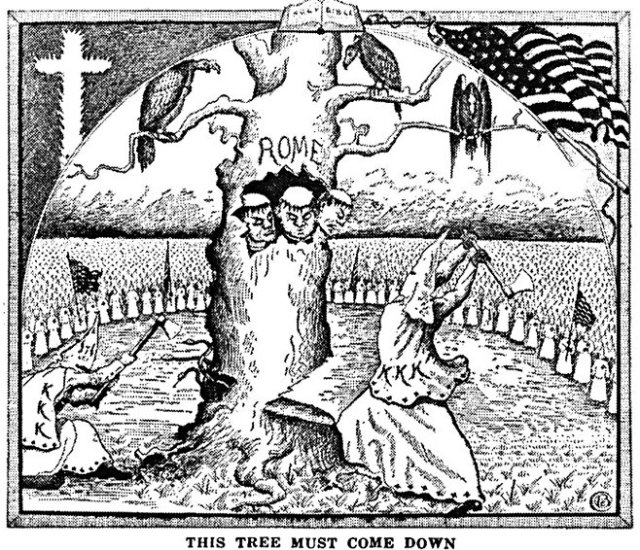 Branford Clarke's illustration for 'The Ku Klux Klan in Prophecy,' Bishop Alma White; Pillar of Fire Church, Zaraphath, New Jersey. (1925)