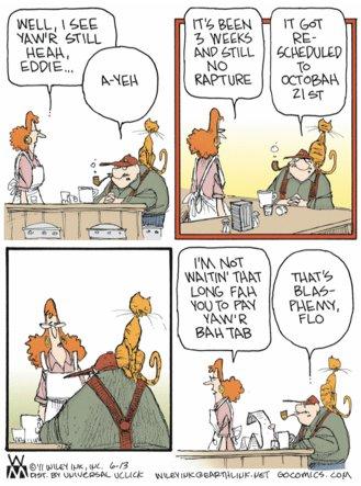 Wiley Miller's 'Non Sequitur' comic, Captain Eddie and spoof of Harold Camping's rescheduled rapture. (June 13, 2011)