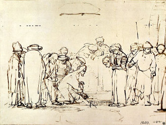 Rembrandt's Jesus and the adulteress, via Wikimedia Commons, used w/o permission.
