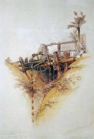 David Roberts' 'Ancient Fountain:' a Persian water-wheel, used for irrigation in Nubia. (1838)