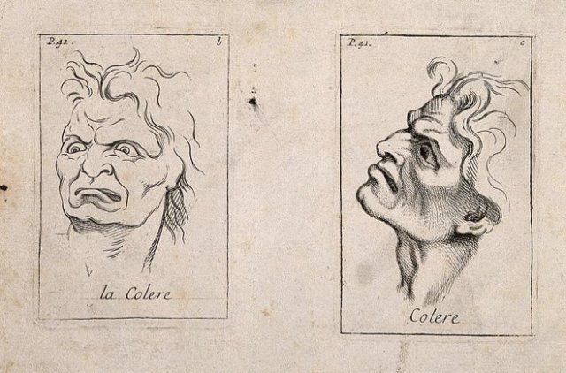 Etching by B. Picart, 1713, after C. Le Brun; Wellcome Trust; via Wikimedia Commons; used w/o permission.