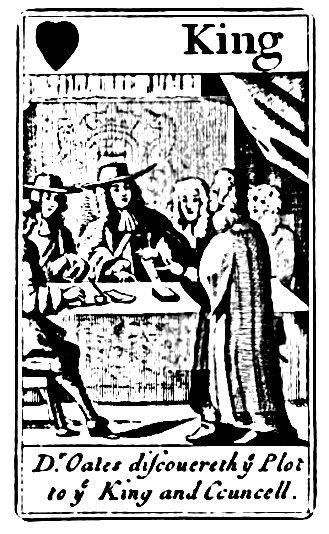 Popish Plot playing card 2: 'Oates discovereth ye Plot to the King and Councell.' [discovers = reveals] (1849)