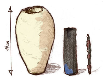 Ironie's drawing of the Baghdad battery.