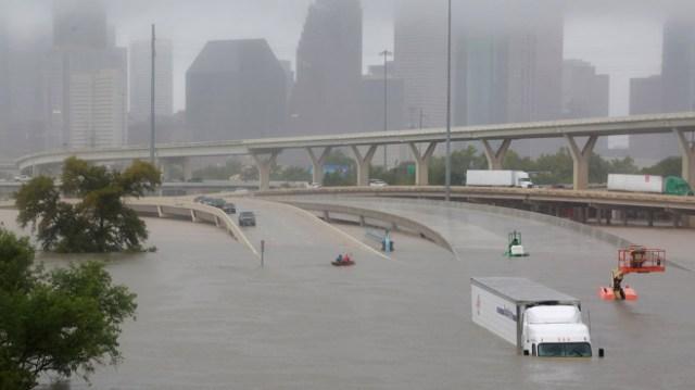 Submerged Houston roads during Hurricane Harvey (2017)