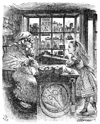 John Tenniel's Alice and the Knitting Sheep, Alice Through the Looking-Glass.
