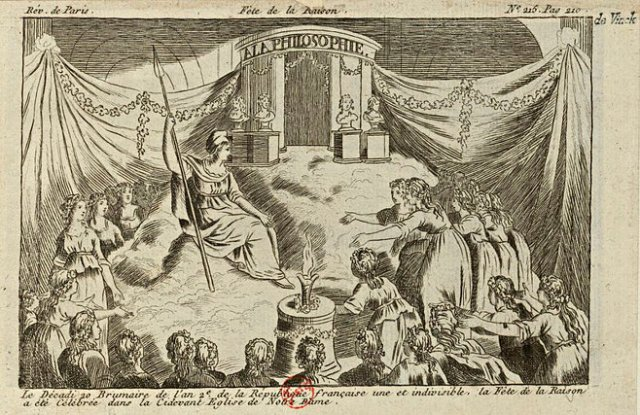 Engraving of the Fête de la Raison/Festival of Reason' at Notre Dame, during the French Revolution.