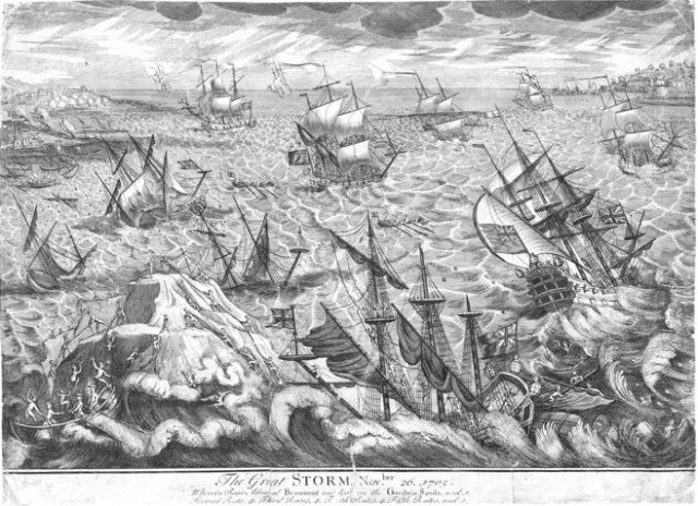 18th century engraving by an unknown artist, '...Wherein Rear Admiral Beaumont was lost on the Goodwin Sands....'