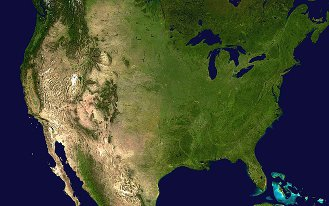 Satellite composite image of the contiguous United States.