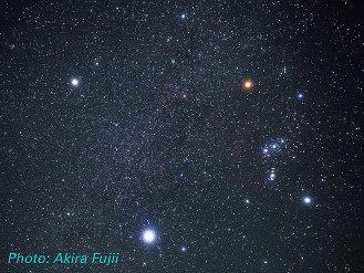 The Winter Triangle: Procyon, Betelgeuse and Sirius. From Akira Fujii; via Hubble Space Telescope, ESA, NASA; used w/o permission.