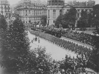 American troops celebrating Independence Day Celebration in Paris, France, (1918)
