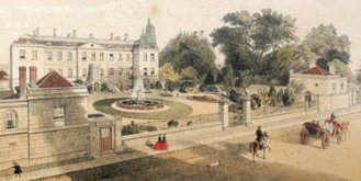 'Hand coloured engraving of Radcliffe Infirmary as it was between 1863 and 1865' via Oxfordshire Health Archives.