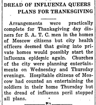 Spanish flu article from The Argonaut. (November 27, 1918)