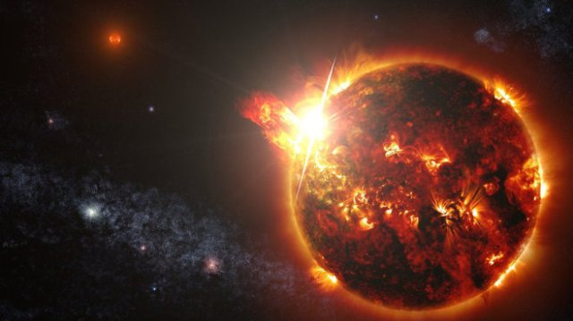 S. Wiessinger's impression of a red dwarf star and flares.