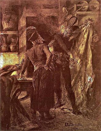 Michał Elwiro Andriolli's Pan Twardowski and the devil. (1895)