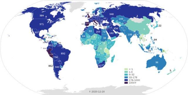 Map: COVID-19 deaths per capita in December, 2020.