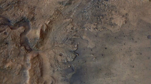 Jezero Crater's delta, image from ESA Mars Express Orbiter. (September 21, 2020)