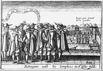 'Babington with his complices in St Gile's field,' from George Garleton's 'A Thankful Rembrance of Gods Mercie,' George Garleton. (1630)