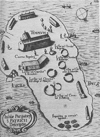 Thomas Carve's 'Map of Station Island,' including Caverna Purgatory. (1666)
