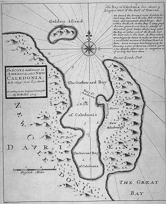 H.G. Moll's Map of the Bay of New Caledonia in Darién, Panama. (1729)