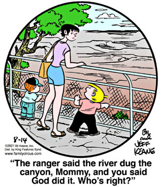 Bill and Jeff Keane's 'Family Circus' at the Grand Canyon: a river, a ranger, God and a good question. (August 14, 2021)