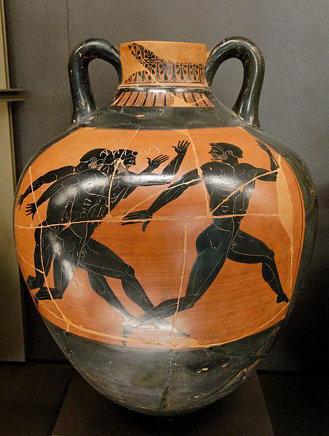 the Kleophrades Painter's 'athletes running' black-figured Panathenaic amphora. (ca. 500 B.C.)