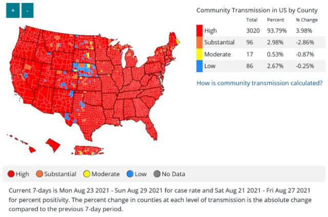 Community Transmission in the US. (August 31, 2021)