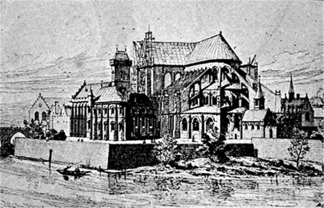 Notre Dame in the 13th century, with bishop's palace on the left. From 'Paris à travers les Ages,' reproduced in 'Notre Dame de Paris,' Charles Hiatt (1902))