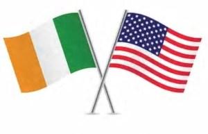 crossed us and Irish flags