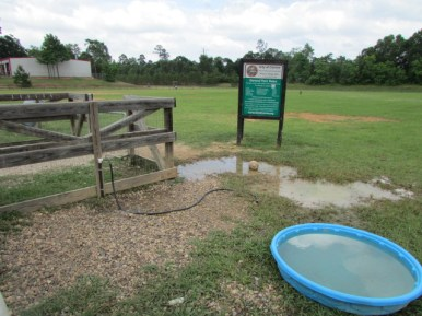 Only water is a hose - no public restrooms