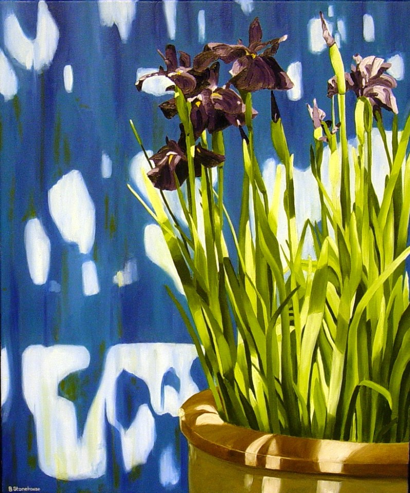 """Irises"" Brenda Stonehouse 24"" x 20"" oil on canvas. Available for purchase."