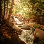"""Waterfall"" Brenda Stonehouse 30"" x 40"" oil on canvas. Private collection."