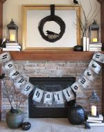 Happy Halloween Burlap Banner in black and white inspired by Pottery Barn – This easy burlap banner with free printable pattern is an easy Halloween DIY that will compliment your Halloween decorations. Get the full tutorial at BrenDid.com. #Halloween #decor #DIY #Knockoff #banner #garland