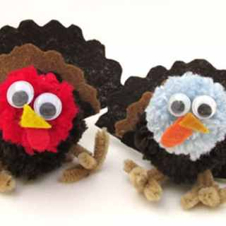 Thanksgiving Kid Crafts Pom Pom Turkeys