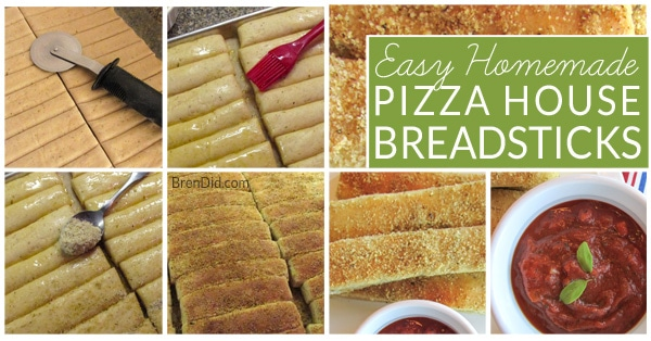 Pizza night just got better. This recipe makes soft Homemade Pizza House Breadsticks with cheesy, garlic & herb seasoning and easy dipping pizza sauce. It's perfect for pizza night or anytime!