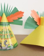 We love hanging out together or with other family's to have a family friendly New Year's Eve party. This year we are getting a little extra help from Dreamworks Animation and their new Netflix original series All Hail King Julien. Learn how to make folded paper party hats or CROWNS to make sure your guests celebrate in style. BrenDid.com