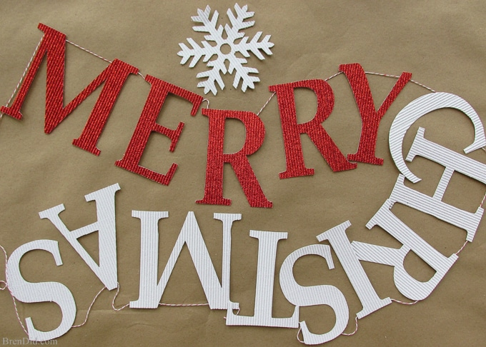 "Must try! Easy and Affordable Christmas Decorations: PB Inspired Merry Christmas Banner – Make a Pottery Barn Inspired ""Merry Christmas"" Banner from glitter cardstock, bakers twine and tape for $3.64. That's 84% off of the retail price of $22. Free printable pattern, Silhouette cut file and easy directions at BrenDid.com"