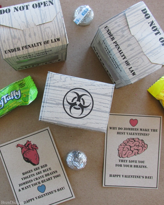 Valentine Zombie Apocalypse Craft and Free Printable Valentine Cards will help you celebrate your love of all things zombie. Get the tutorial and free printable at BrenDid.com. These would make great zombie party favors.
