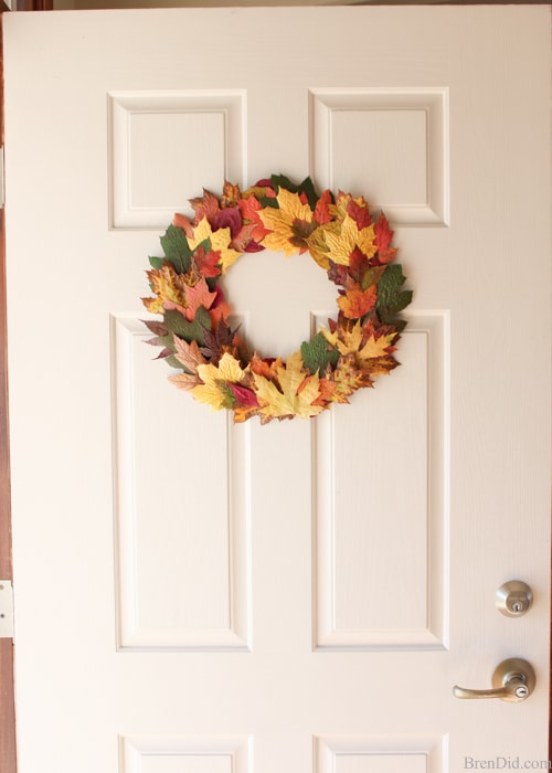 Pressed fall leaves can be made into a lovely and frugal front door wreath. Learn a quick and easy method to preserve fall leaves and make this simple wreath today!