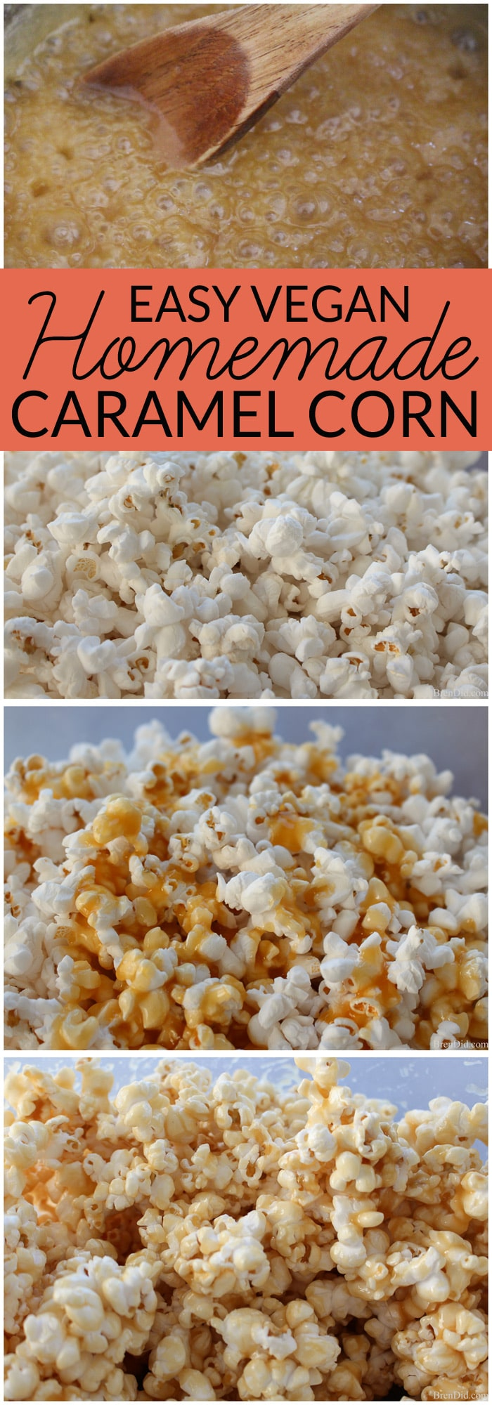 Homemade caramel corn is a delicious sweet treat. This easy version uses only sugar, butter, vanilla, cream, and salt to make a creamy caramel sauce. Vegan caramel recipe also included.