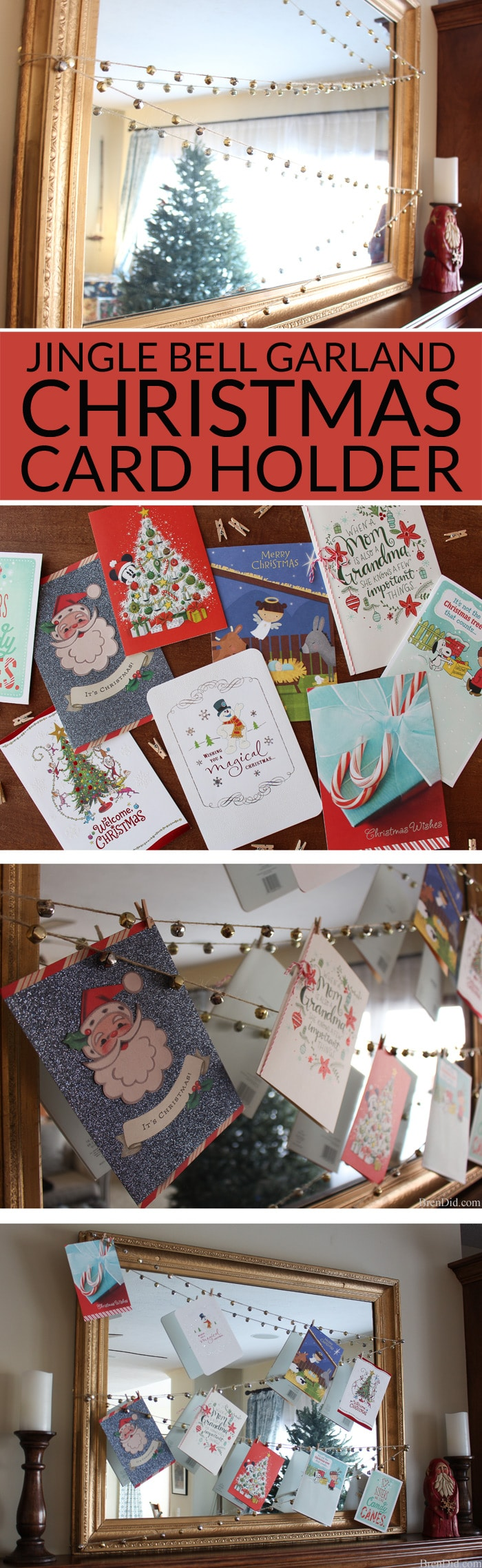 Enjoy your holiday cards all season long with this easy DIY Jingle Bell Garland Christmas Card Display. A 20 minute Christmas DIY project.