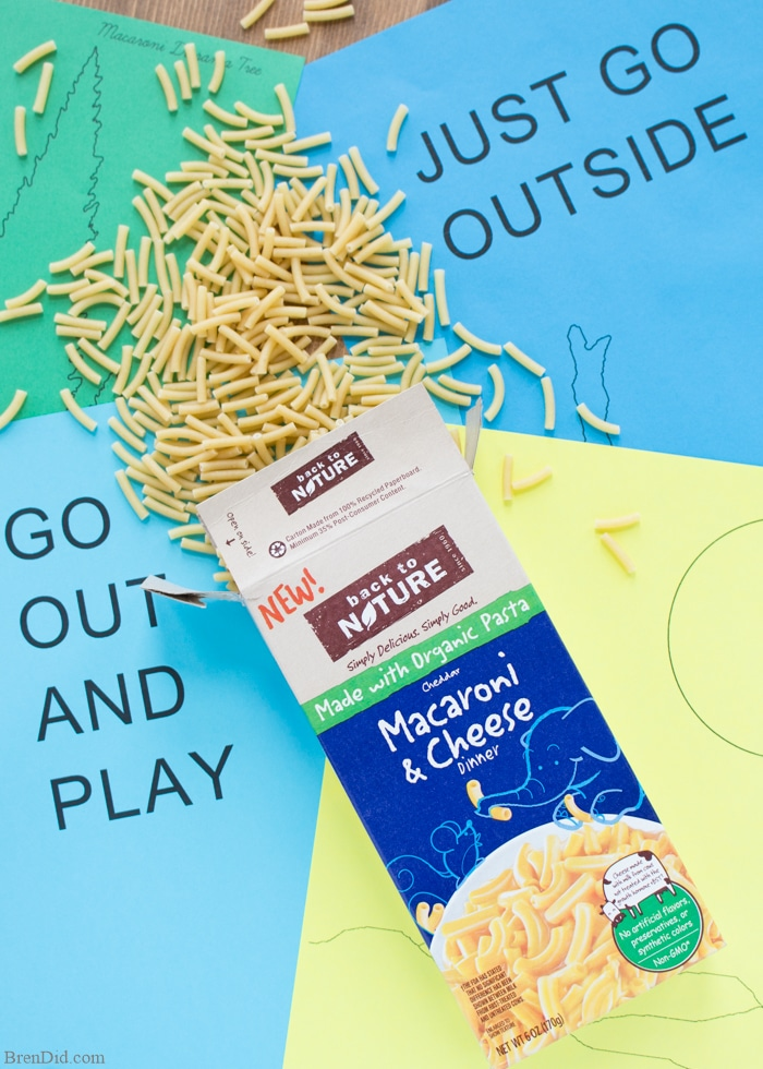 Easy Dimensional Macaroni Art for Kids - Get back to basics with this simple macaroni art project for kids that uses dry noodles and colored paper to create a cool dimension effect. Free printable pattern. #BackToPlay #CollectiveBias #ad