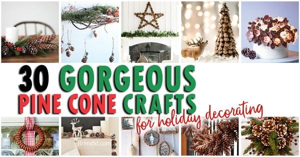 Decorating with pinecones for the holidays is free and beautiful. These 30 easy crafts add pinecones to your home decor this winter.