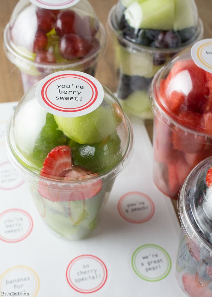 Valentine's Day can be fresh, healthy, and cute! These free printable Valentine fruit labels make healthy treats for kids a snap. Just print and stick!