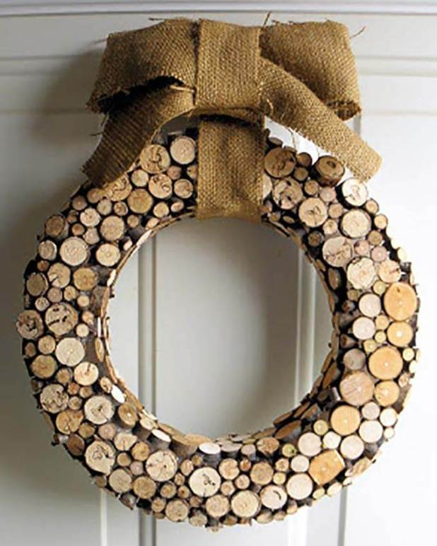 fall wreath made from small wood slices
